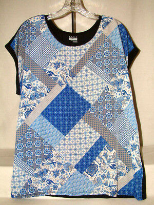 """#4203 FIGURE FLATTERING, CAP SLEEVE BLOUSE FROM BASIC EDITIONS, XXL 48"""" BUST,NWT"""
