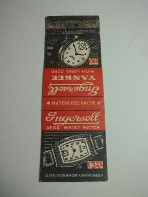 Matchbook Cover Ingersoll Aero Wrist Watch $3.25 & Yankee Pocket Watch $1.50 227