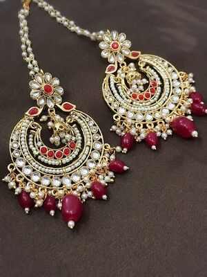 New Indian Pakistani Ethnic Chandbali Jhumki Sahara Chain Moti Pearl Red Earring