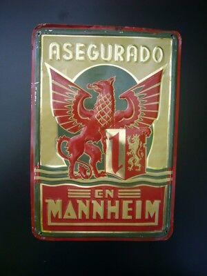 geprägtes Versicherungs-Blechschild - EN Mannheim - Asegurado