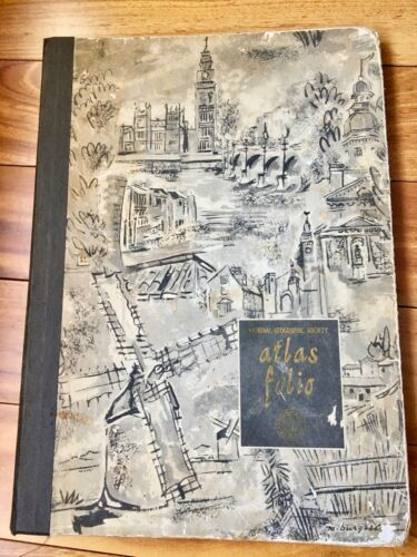 "National Geographic Soc. Atlas Folio 1958 Antique 19 1/2""x 14"""