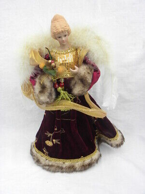Vtg Burgundy/Wine, Gold & Faux Fur Angel Christmas Tree Topper or Tabletop Decor