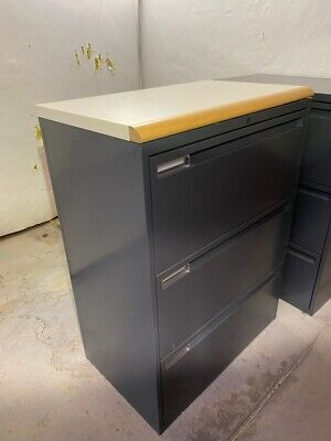 3 Drawer Lateral File Cabinet Gray Steel Lateral File Storage Cabinet With Lock