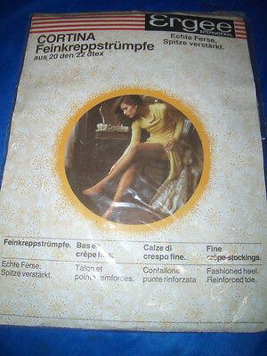 Vintage Ergee Cortina Strapsstrümpfe Feinstrümpfe Gr. 10,5-11 platin 20 den OVP - Platin 10.5