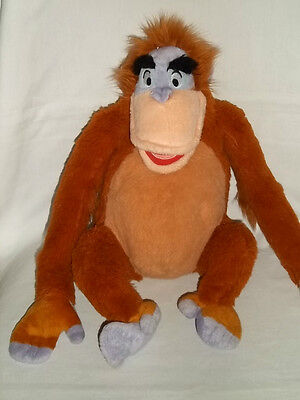 "DISNEY STORE 13"" Plush JUNGLE BOOK Sitting KING LOUIE Monkey Core Velcro Stuffed"