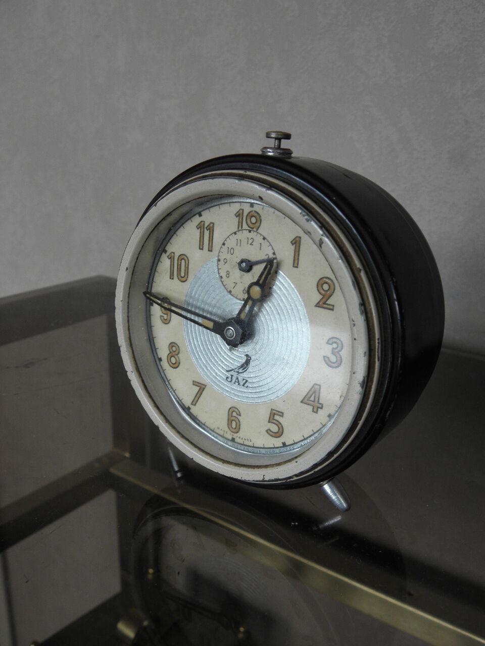 vintage clock alarm jaz retro desk art deco design mechanics uhr old french picclick uk. Black Bedroom Furniture Sets. Home Design Ideas