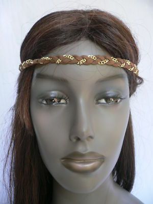 WOMEN ELASTIC BRAID FABRIC BROWN GOLD HEAD CHAIN JEWELRY 70'S FASHION HAIR BAND](70s Womens Hair)