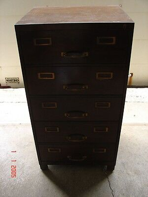 Vintage Industrial Machine Age Faux Wood Metal 5 Drawer Card File Cabinet