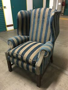 Gorgeous Blue & Beige Winged Back Armchair Artarmon Willoughby Area Preview