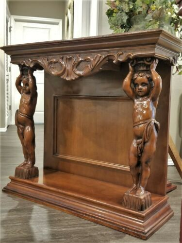 VTG CARVED WOOD FIREPLACE MANTEL TOP SHELF CONSOLE TABLE CHERUB PUTTI CARYATIDS