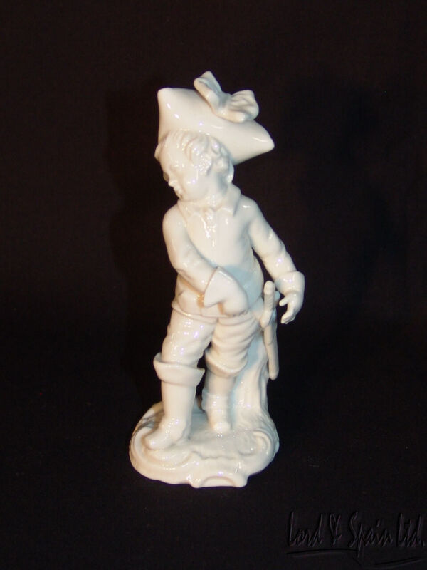 Nymphenberg Small Porcelain White Blanc De Chine Man in Boots & Gloves W/Sword