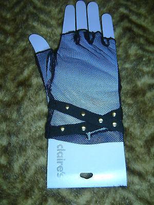 - black studded fish net lace up  fingerless gloves biker