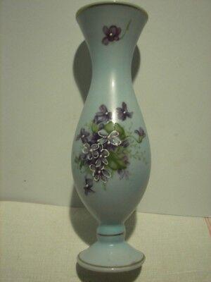 """Vintage Bud Vase ~ Hand Painted Violets on Pale Blue Background ~ Unsigned ~ 8"""""""