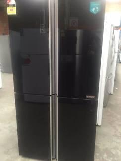 Hisense 695L Glass 4 Door French Door Fridge - BLACK HR6CDFF695GB