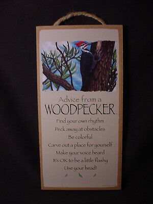 ADVICE FROM A WOODPECKER Wood INSPIRATIONAL SIGN wall NOVELTY PLAQUE Bird NEW
