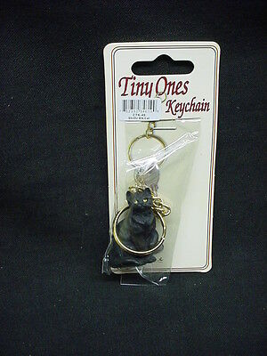 Pretty BLACK KITTY CAT KEYCHAIN Figurine statue Ornament kitten Key Chain Ring