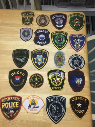 NICE LOT OF 20 TEXAS POLICE  SHOULDER PATCHES  TX05