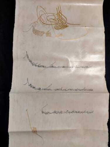 Antique rare islamic ottoman handwritten Firman of sultan Abdulmajeed 19th C