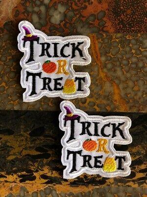 2 Trick or Treat Pumpkin Halloween Iron Sew On Patch 2.75
