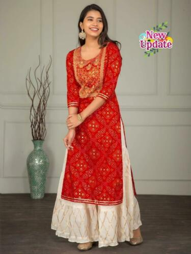 Red Kurtis designer Anarkali plazzo Pakistani kameez Sharara Set dress