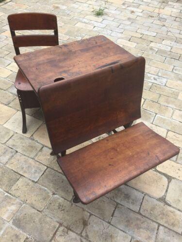 Antique school desk (ASCo 4) & vintage chair