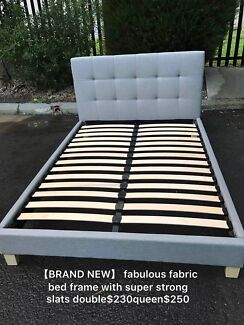 【BRAND NEW】fabric Bed with super strong slats double$230queen$250