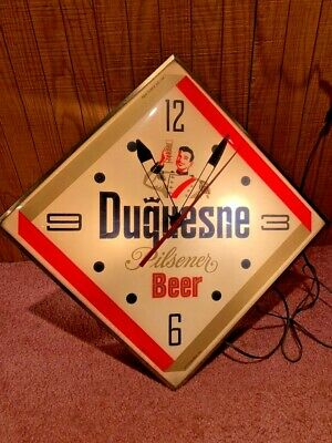 RARE Vintage 1961 PAM DUQUESNE BEER LIGHT UP CLOCK BAR ADVERTISING SIGN DIAMOND