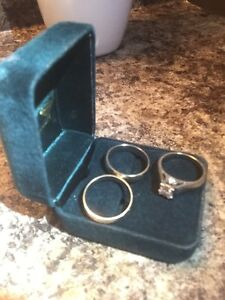 Engagement ring and bands white gold. Diamonds .75