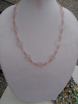 Handmade Beaded Necklace of Pink Different Shaped Multi Toned Glass Tone Multi Shapes