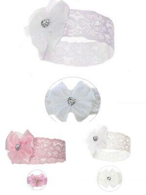 INFANT BABY ELASTICATED 'RIBBON BOW' WHITE IVORY PINK Headband 0-12 MONTHS