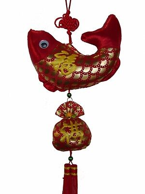 Feng Shui Chinese New Year Charm - Fish with Money Bag