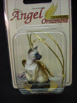 SEALPOINT SIAMESE Kitty CAT ANGEL ORNAMENT Figurine statue NEW Christmas kitten