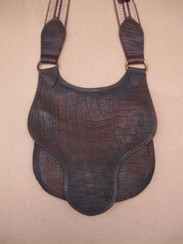BLACK POWDER  PRIMITIVE HUNTER BEAVERTAIL LEATHER POSSIBLES BAG made in usa