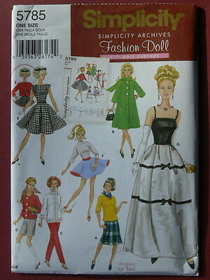 Simplicity Pattern 5785 Retro Outfits for Fashion Dolls like Barbie archive