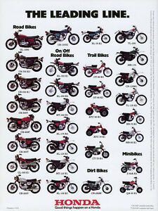 1975 HONDA LINE UP FULL LINE VINTAGE MOTORCYCLE POSTER PRINT 36x27