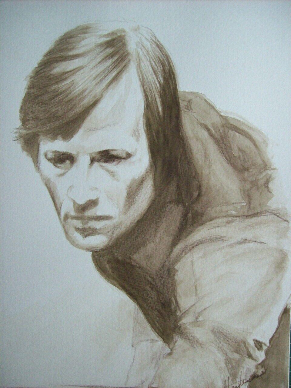 ALEX HIGGINS,  , ORIGINAL WATERCOLOUR PORTRAIT ,
