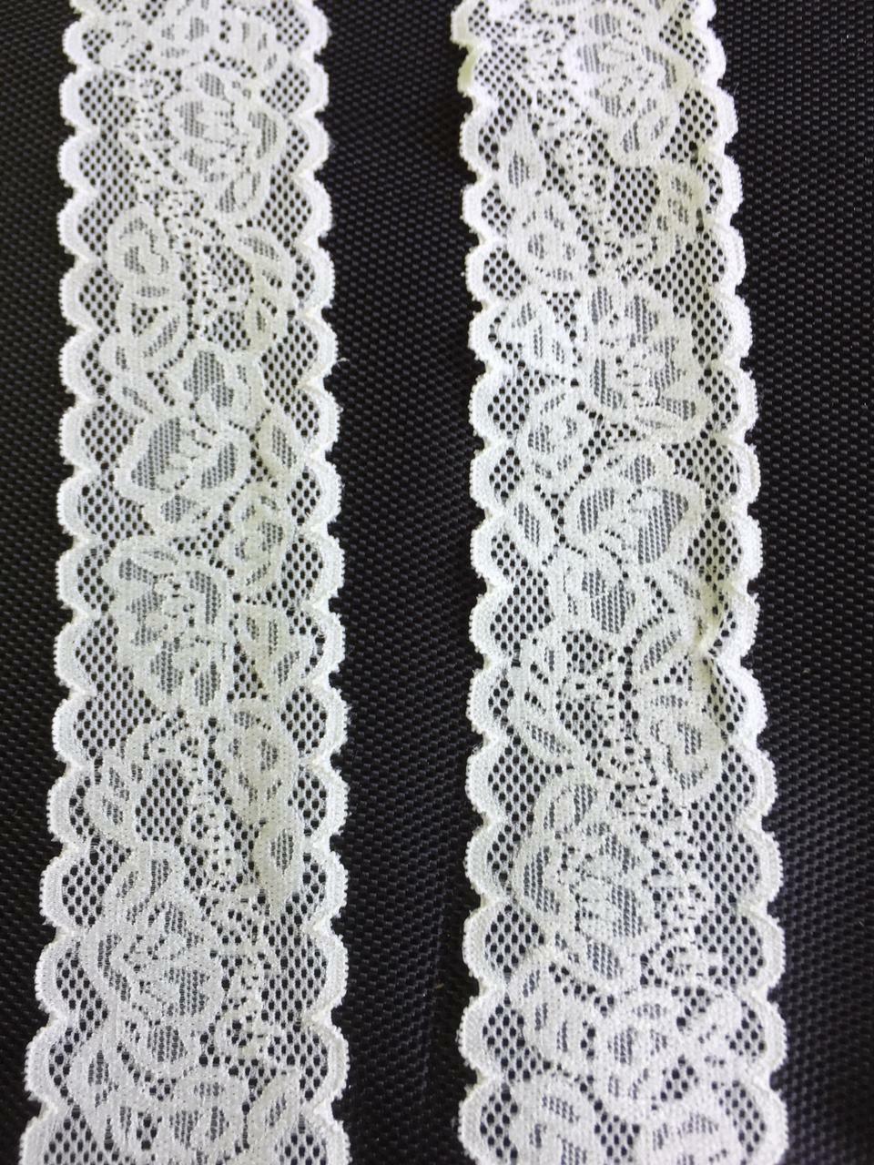 10m/3m Nylon Spitze Borte Elegante 4, 5cm Creme elastisch stoff  NR