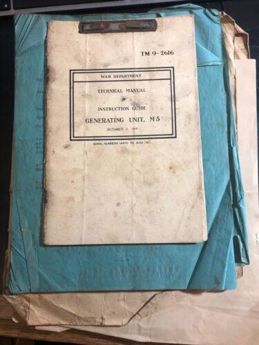 1941 War Department Technical Manual Generating Unit M5 TM 9-2616 Original