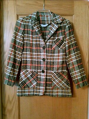 Vintage 60's-70's Women's Wool Blend Blazer NPC Fashions Warren, PA Plaid