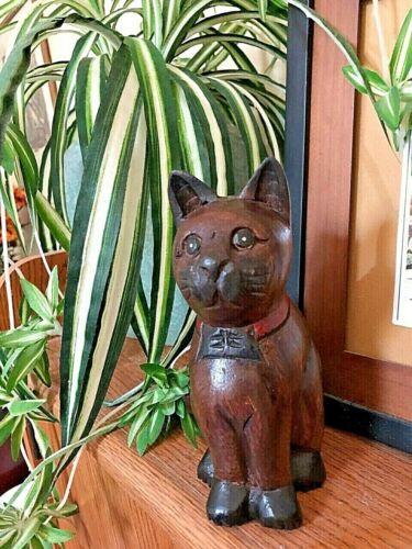 Vintage Hand Carved Wood Kitty Cat Figurine Folk Art