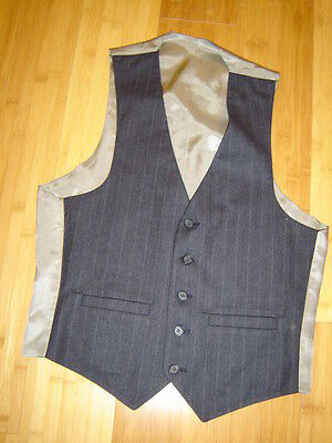 Sherlock Holmes steampunk suit vest dark navy light stripe  lined  38 C (Steampunk Suit)
