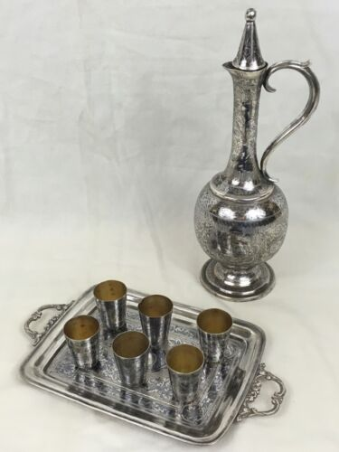 Antique Persian / Russian 84 Silver and niello Decanter , Serving Tray , 6 Cups