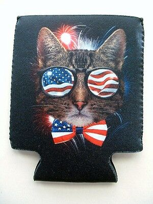 2 NEW AMERICAN FLAG PATRIOTIC COOL KITTY CAT DESIGN CAN KOOZIE FISHING BUD COORS