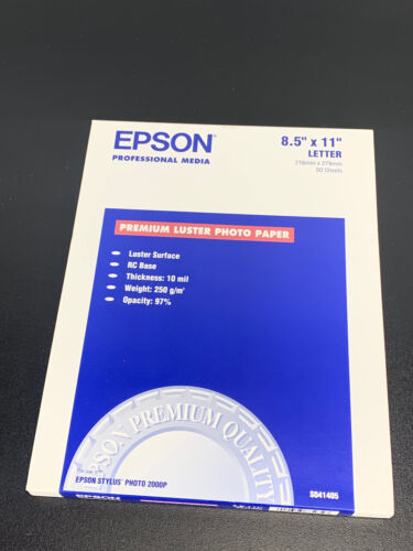 "Epson Ultra Premium Photo Paper Luster 8.5"" x 11"" 50 Sheets S041405 FREE SHIP"