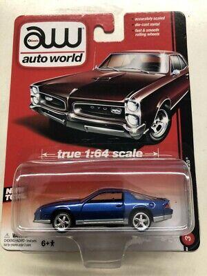 1984 CHEVY CAMARO Z28 BLUE CHEVROLET 1/64 DIECAST CAR MODEL BY AUTO WORLD RARE