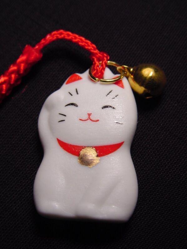 MANEKI NEKO Beckoning Cat Cell Phone Strap Keychain Charm with Bell & Sleeve NEW