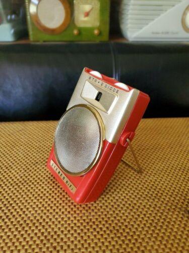 Rare Stereo Hi-Fi Transistor Radio, Bright Red !!