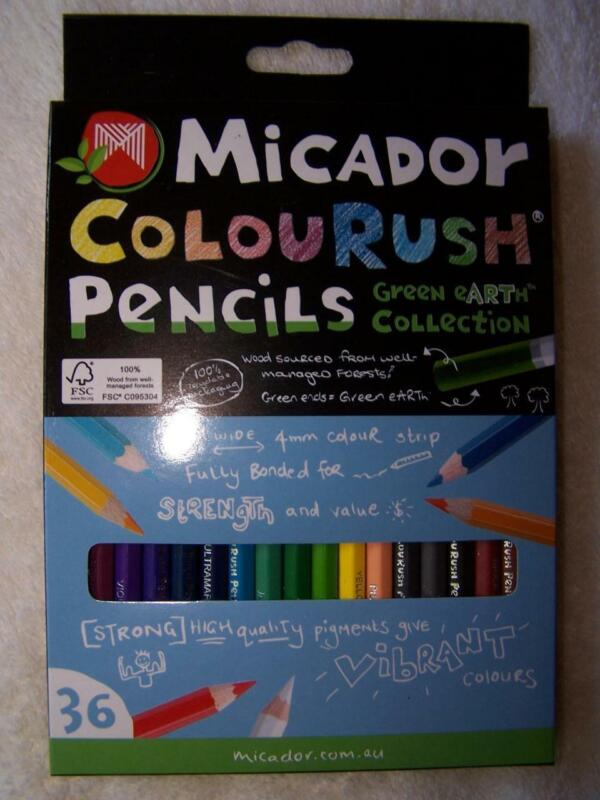 Micador Colourush Pencils 36 Set Green Earth Collection Ships Free From US!! NEW
