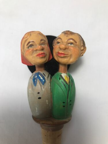 Vintage Kissing Couple Wooden Wine Cork Stopper Animated Carved Figural