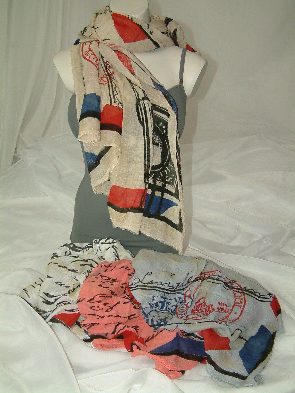 USA POST-CARD Damen Halstuch Schal Tücher in 4 Farben ca. 165 X 100 cm   Neu